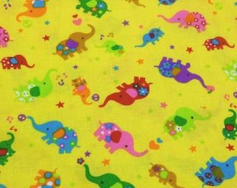 1 Yard Yellow Elephant Japanese Cotton Fabric