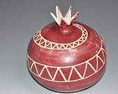 Sgraffito red pomegranate vase, maroon engob with spiral carving, wedding gift, house warming gift, hostess gift