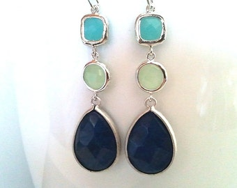 Mint with Navy Blue Drop, Dangle, Earrings, bridesmaid gifts,Wedding jewelry, Gemstone, Mother's Day Gift