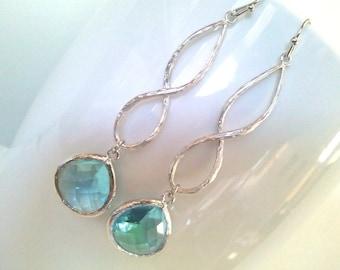 Infinity Aqua drop Earrings, Bridesmaid Gift Wedding Jewelry Glass Dangle Earrings,Gemstone,Mother's Day gift