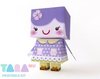 DIY Printable Cutout Doll, DIY Paper Doll, Kawaii Printable Doll, Purple Doll, TaraDoll, Instant Download Paper Doll, Educational Toy