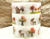 Forest Animals, Squirrel, Deer, Trees, Mushroom  Washi Tape - N586