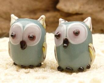 Opaque Grey Lampwork Glass Owl Beads (2)