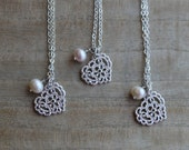 Silver lace heart & freshwater pearl necklace, bridesmaid necklace, wedding jewelry, maid of honour, mother of the bride,