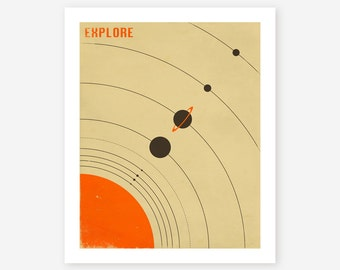 THE SOLAR SYSTEM, Giclee Fine Art Print,  Retro Poster for the Home Decor, (beige version)