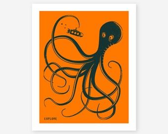 EXPLORE, Giclee Fine Art Print, Orange Octopus Pop Art for the Home Decor