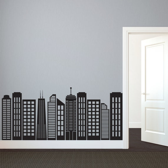 simple geometric city skyline silhouette wall decal custom