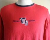 RSVD T 90's Tommy Hilfiger Classics embroidered designer logo red long sleeve graphic t-shirt men women unisex ringer crew neck tee large