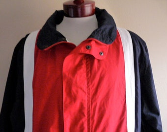 vintage 80's 90's Nautica sailing jacket color block nautical black white red preppy zip up hooded windbreaker stand up collar yacht boat