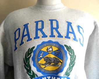 Go Panthers vintage 90s Parras Middle School varsity puffy print crest logo graphic sweatshirt crew neck heather grey fleece pullover jumper