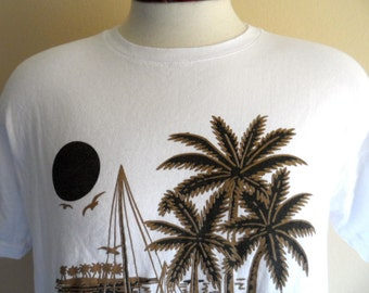 vintage 80's Cancun Mexico black brown palm tree beach yacht sun print white tourist travel souvenir graphic t-shirt unisex crew neck tee