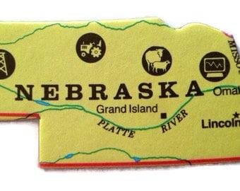 Nebraska State Map Magnet - Vintage Puzzle Piece