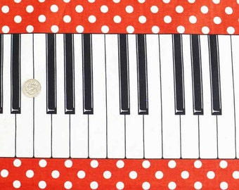 Piano Print Japanese Fabric Red / 110cm x 50cm