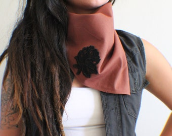 Black Rose Applique bandana/scarf