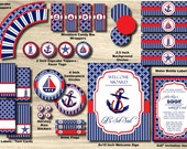 Nautical Baby Shower Package - Anchor Baby Shower Party Pack - Sailboat, Stripe Knot Chevron, Red, Blue, Navy - PRINTABLE Ahoy Boy, Girl
