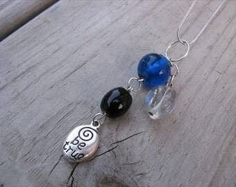 JEWELRY SALE- Glass Necklace- Cluster Drops-Blue, Black, Clear- one of a kind
