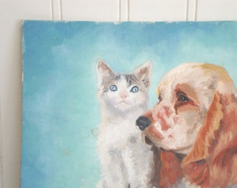 VINTAGE OIL PAINTING - On Canvas Panel - Cat Dog Animal - Blue - Friends - Cottage Chic