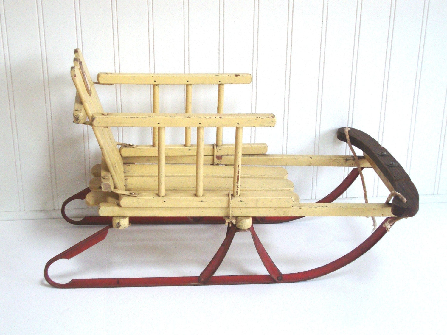 Vintage Childs Sled Toddler Wooden Metal Wood Yellow