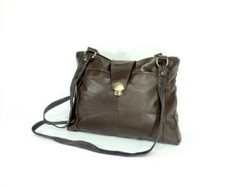 REDUCED~ Vegan Leather Shoulder Bag - Slouchy Vegan Leather Satchel -  Dark Brown Vegan Leather Tote - Brown Vegan Leather Shoulder Bag