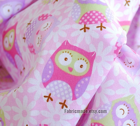 Cute Pink Purple Owl Cotton Fabric Kids Children by fabricmade