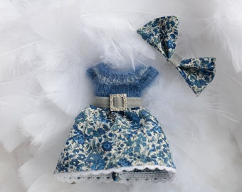 Blythe doll sized Sweet Liberty outfit.  Tana lawn dress with handknit mohair bodice and hair bow clip for Blythe Pullip licca  Dal