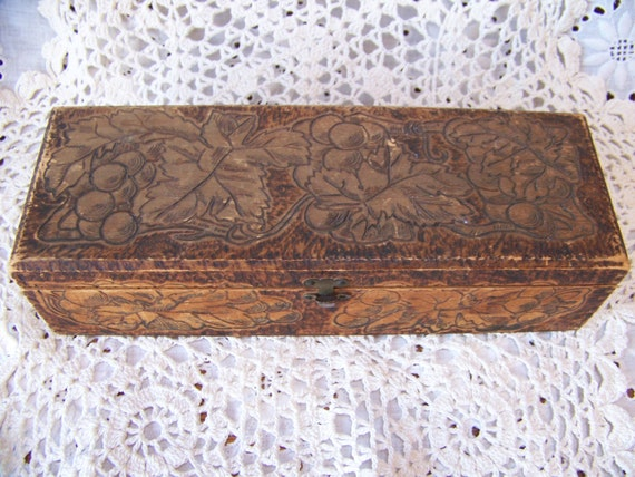 Wooden Glove Box ~ Antique wooden hinged glove box pyrography with by lesaestes