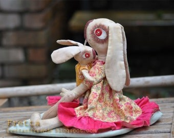 SALE! Whimsical Toy: Mother and Baby Bunny. Hand stitched Primitive Rabbits, Folk Style Rag Hares.
