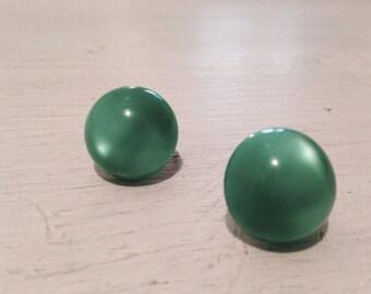 Festive Vintage Soft Green Button Earrings