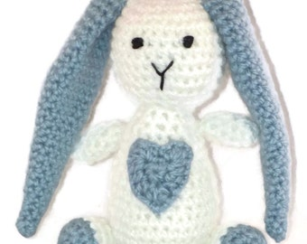 Crochet Bunny with a Big Heart, Light Blue and White, Stuffed Toy, Baby, Baby Shower Gift