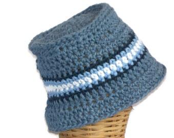 Baby Bucket Hat, Infant Hat, Denim Blue with Stripe