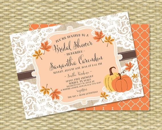 Fall Bridal Shower Invitation Burlap Lace Fall Into Love