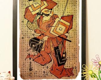 Japanese Kabuki Actor Samurai - Vintage Japan paper Dictionary Print