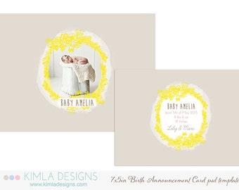 7x5in Birth Announcement Flat Card PSD Template Summer 2014 vol2