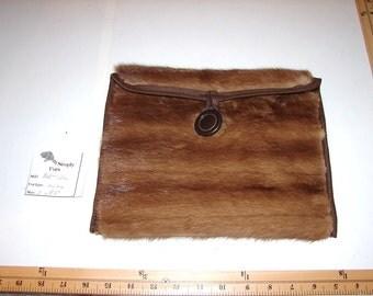 BAG-10A Genuine BROWN MINK Fur Ipad Kindle EReader Sleeve Cover Cozy