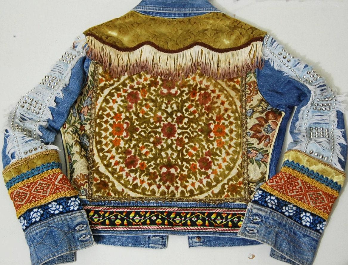 70s Vintage Bohemian Denim Jacket Patchwork Velvet Studs