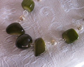 Clunky Green Dyed Jade Beads and Fluted Silver Bead Spacers Necklace
