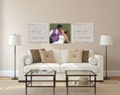 Set of 3, Your Wedding Vows on canvas, personalized wedding gift, Canvas photo and wedding vow set, cotton anniversary gift