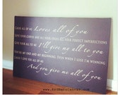 All Of Me Loves All Of You, Song Lyrics on canvas, anniversary, first dance, music gifts