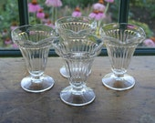 Set of 4 Vintage Soda Fountain Tulip Shape Sundae Glasses