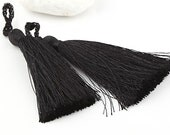 Black, Silk Thread Tassels, 2 pieces - Jewelry Supplies  // TAS-016