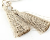 Soft Camel, Silk Thread Tassels, 2 pieces - Jewelry Supplies // TAS-016