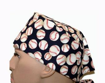 Surgical Scrub Cap - Navy Baseball Scrub Hat - sports scrub hat - unique scrub cap