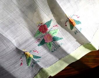 Vintage Hand-Appliqued Guest Towel, White, Mint Green Floral Motif 3355