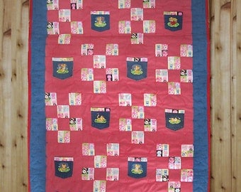 SALE - Fun Childs Quilt with Country Kitten Denim Pockets for Secret Treasures