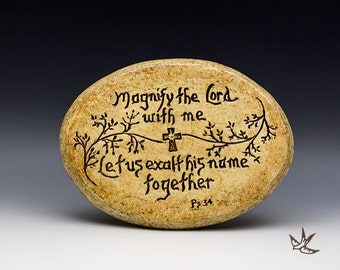 Magnify the Lord With Me Stoneware Plaque Christian Marriage Wedding Anniversary 25th 50th Engagement Ministry