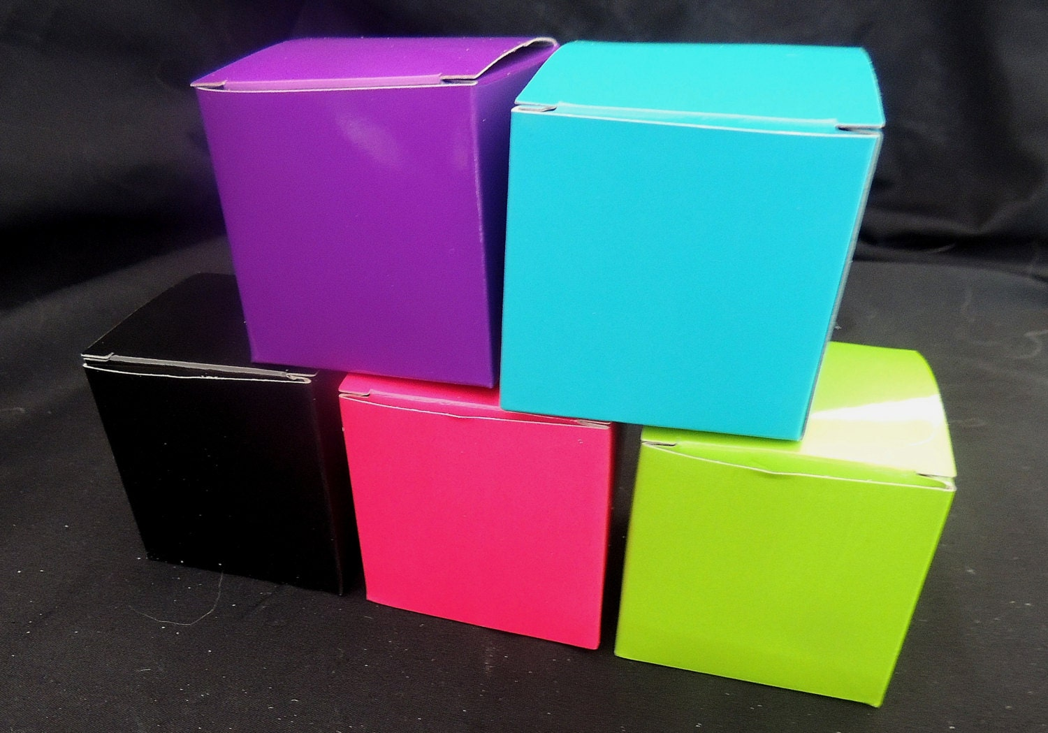 Black Treat Favor Boxes : Cute x hot pink black blue or lime fold and tuck