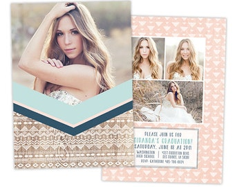 Senior Graduation Announcement Template for Photographers - Photoshop Card Templates for Photographers - Modern Photo Card Template - GD133