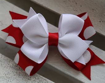 The Minnie Stacked Bow (Red and White)
