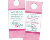 Cruise Nautical Knot Chevron Wedding Hotel Cruise Resort Door Hangers - Customizable Bridal Door Hanger Favors for Guests or Welcome Bags
