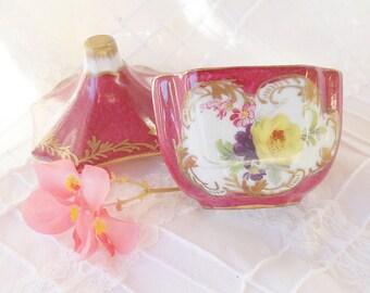 French Porcelain Trinket Box, Porcelaine de Versailles Lidded Box, Victorian French Decor, Wedding